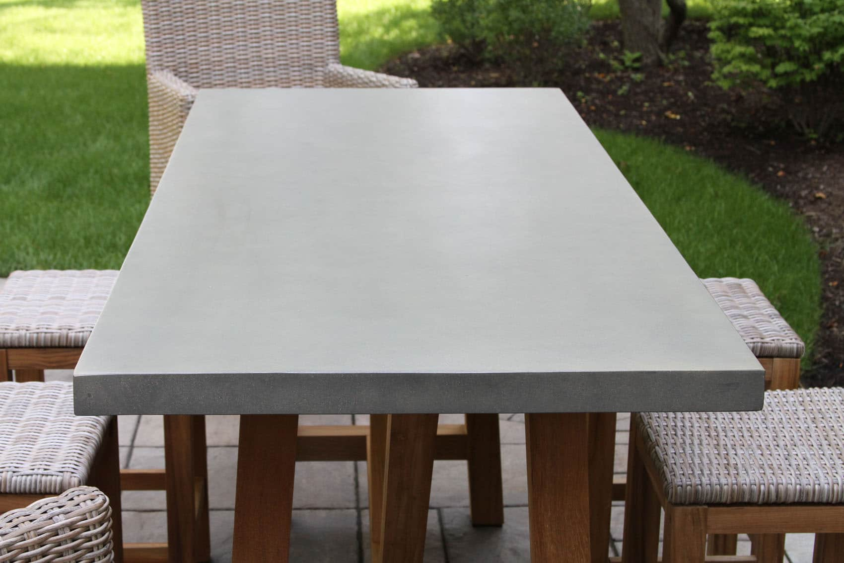 Composite Counter Height Dining Table With Teak Base