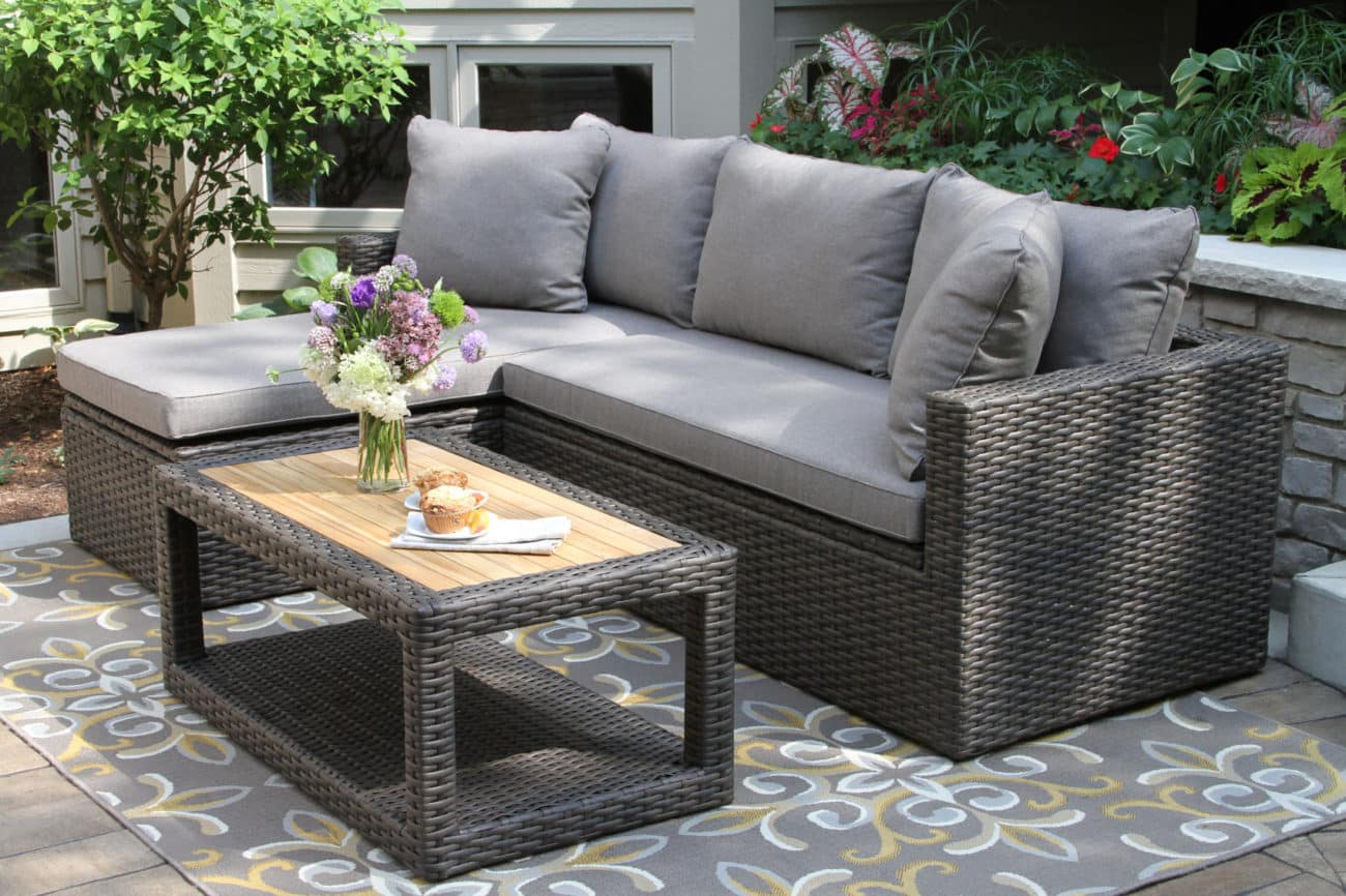 3pc. Teak & Brown Wicker Sectional Sofa Set with ... on Outdoor Loveseat Sets  id=97120