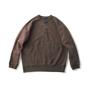 [Good On] 9oz Heavy Henley Sweat 長袖上衣 / Brown