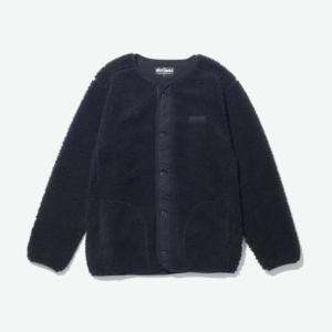 [WILD THINGS] FLUFFY BOA NO COLLAR JACKET 絨毛鈕扣外套/黑 (WT21125N)