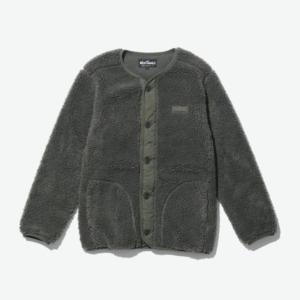 [WILD THINGS] FLUFFY BOA NO COLLAR JACKET 絨毛鈕扣外套/軍綠 (WT21125N)