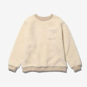 [WILD THINGS] FLUFFY BOA L/S CREW 絨毛圓領長袖上衣/米白 (WT21126N)