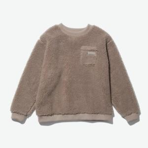 [WILD THINGS] FLUFFY BOA L/S CREW 絨毛圓領長袖上衣/棕褐 (WT21126N)