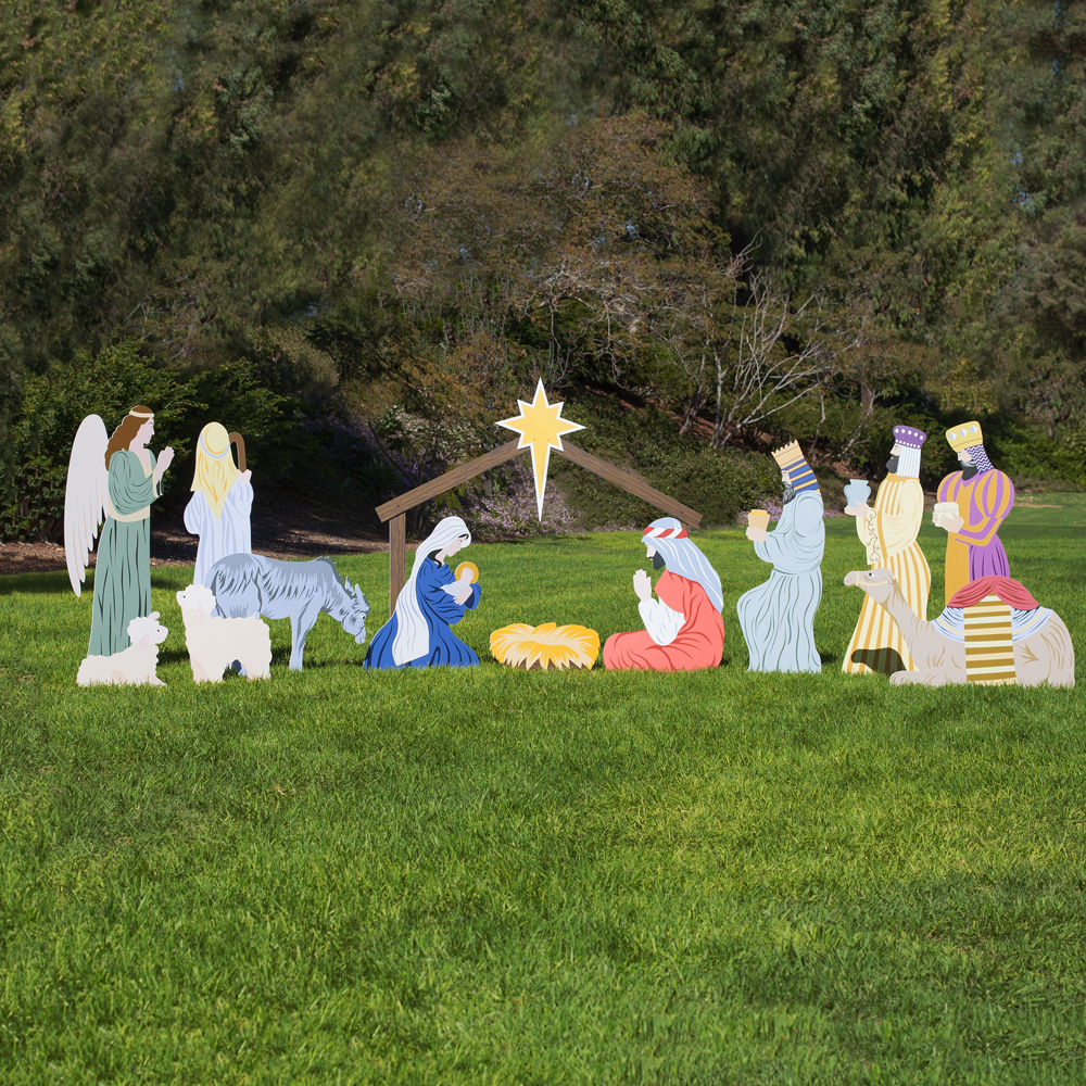 Large Classic Outdoor Nativity Set Full Scene Outdoor