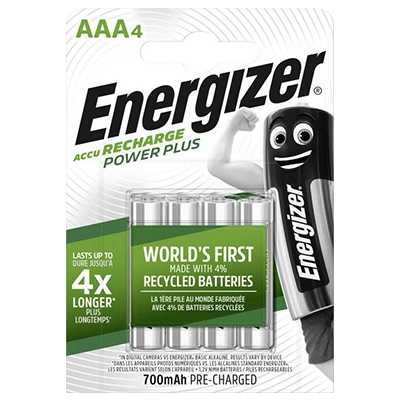 Energizer Recharge Power Plus 700mAh AAA Battery 4pcs