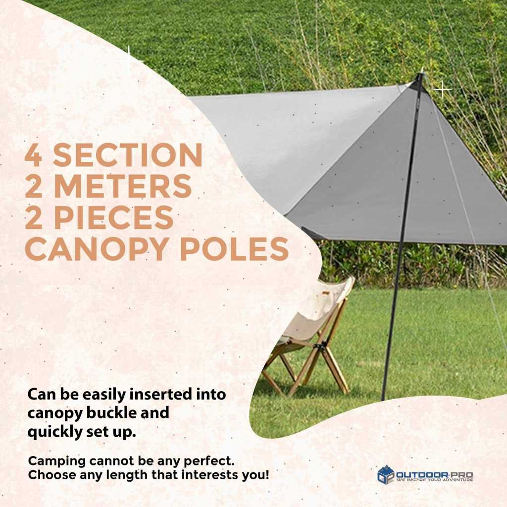 Naturehike 4 Section 2meters Steel Canopy Poles 2pcs