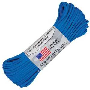 Atwood Rope MFG Paracord 550 Type 7 Strands 100 Feet Blue