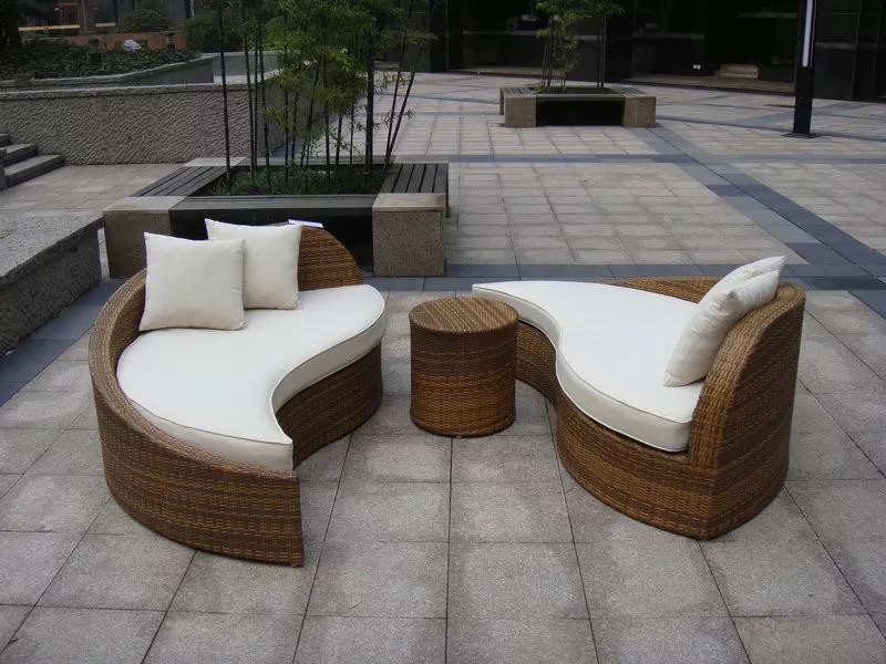 Poly Rattan Waterproof Lounge Bed , Rattan Conservatory