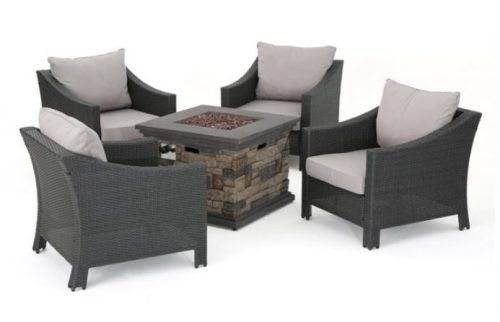 gregory chat set with wicker club chairs and gas fire pit