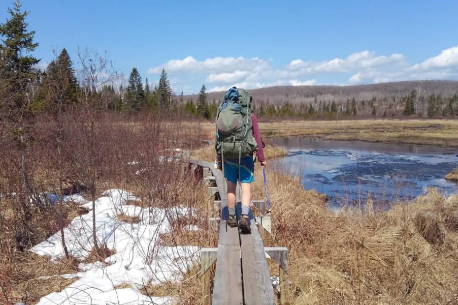 Hiking a boardwalk on the Superior Hiking Trail