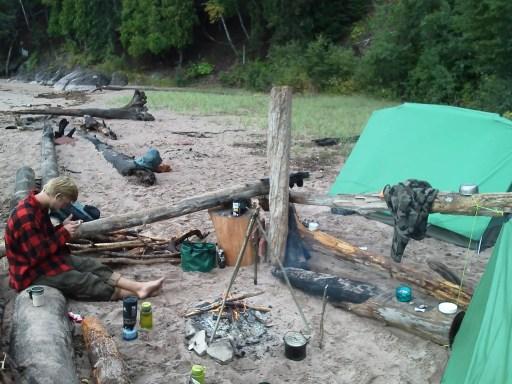 Camp at Lake Superior Near Marquette Michigan