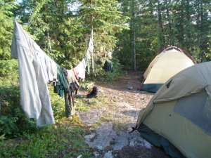 Clothes Line and Tents at BWCA