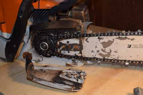 Gunk inside a chainsaw