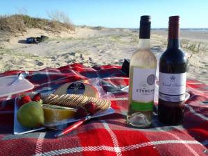 Local wines and cheeses on the dunes
