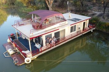 Family on a houseboat