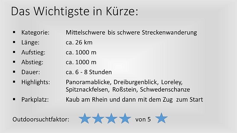 Rheinsteig von St. Goarshausen nach Kaub - das wichtigste in Kürze