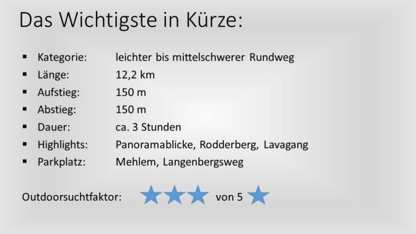 Wandern am Rodderberg - das Wichtigste in Kürze