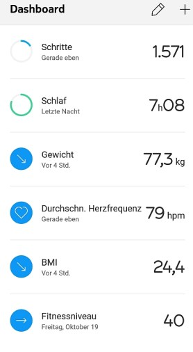Withings Health Mate App - Dashboard