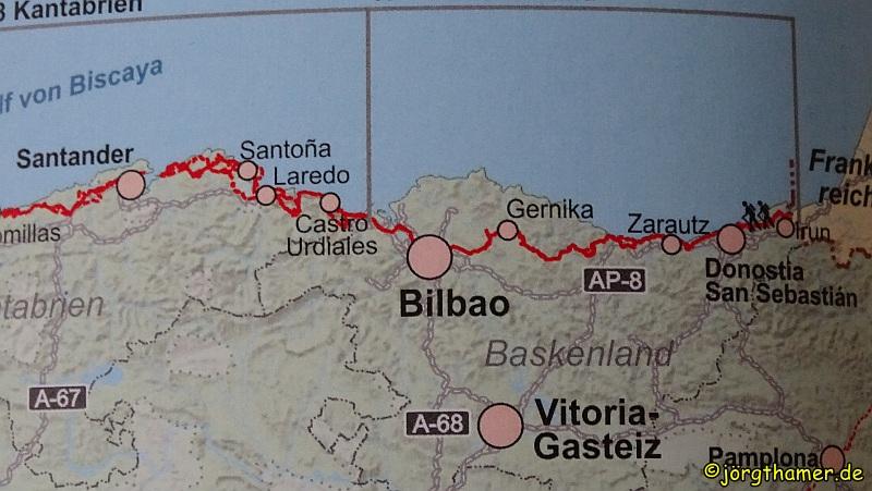 Kartenausschnitt Camino del Norte