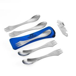 Tapirus 5 Spork Of Steel Utensils Set (With Bottle Opener & Carrying Case)