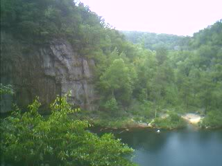 View from the lookout point into the basin of DeSoto Falls