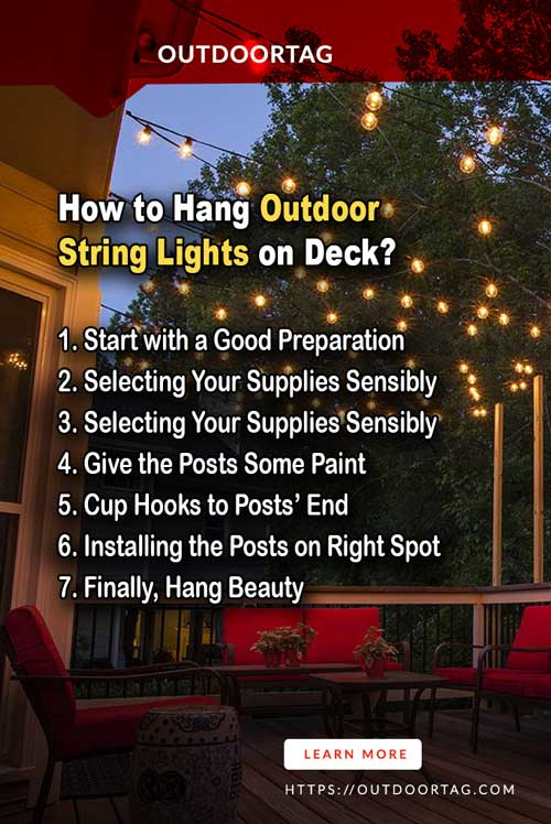 steps of How to Hang Outdoor String Lights on Deck