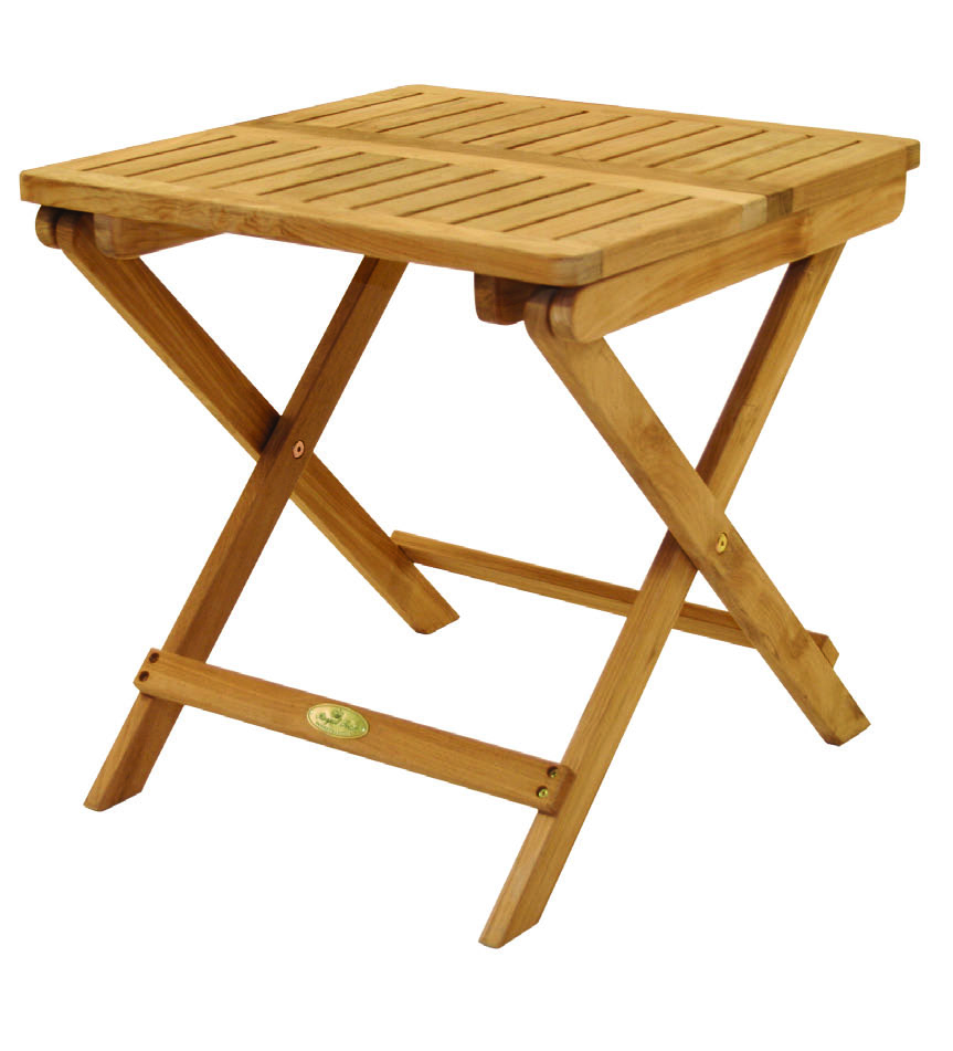 Folding Teak Side Table By Royal Teak Collection PCTB Outdoor - Teak side table with drawer