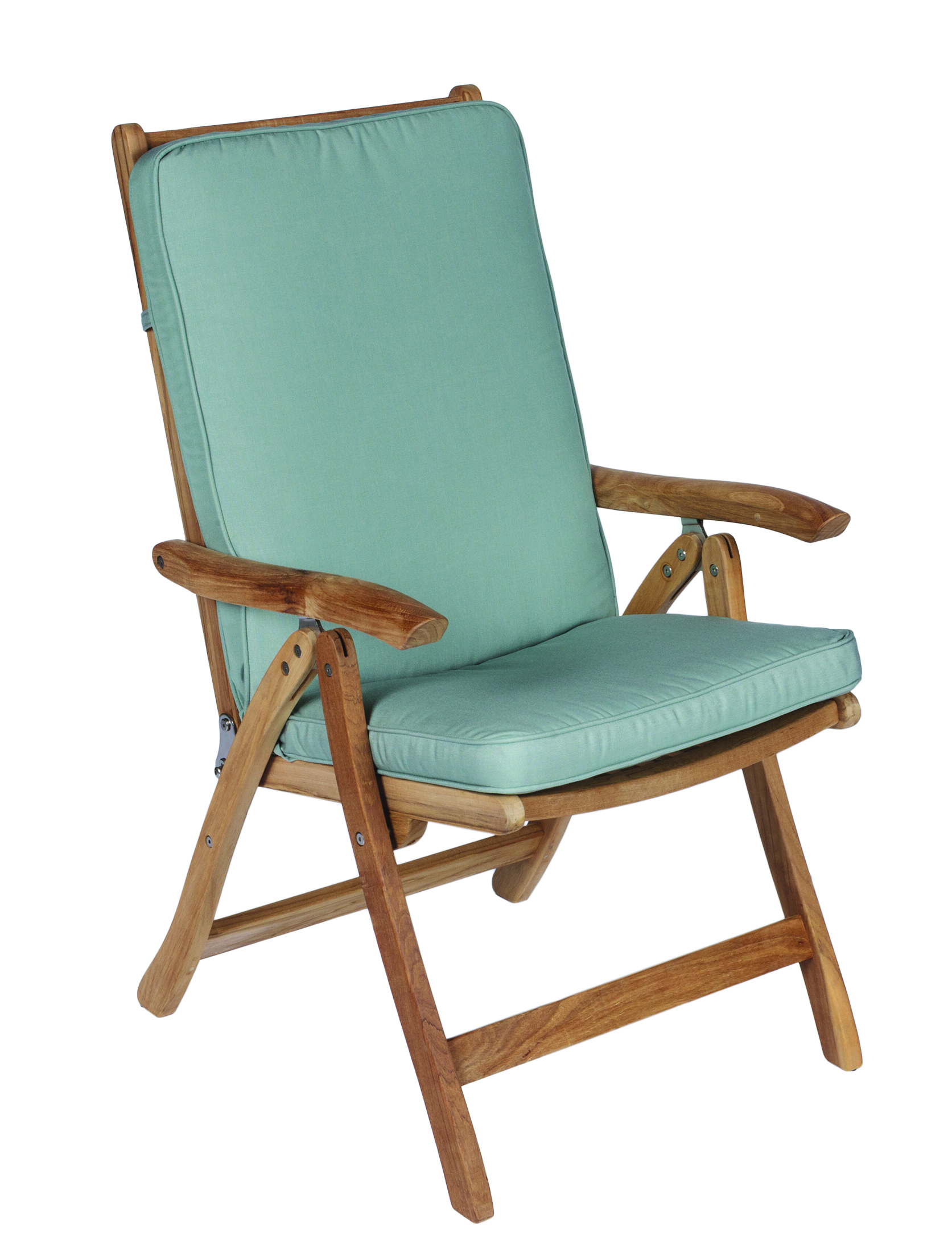Royal Teak Estate Teak Reclining Folding Chair ESFC With Canvas Spa Colored  Cushion