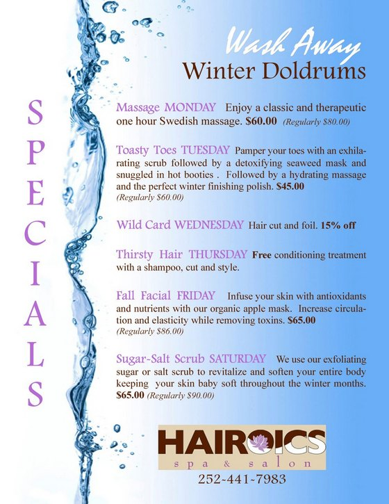 thursday haircut specials winter specials hairoics top outer banks hair salon amp spa 2809
