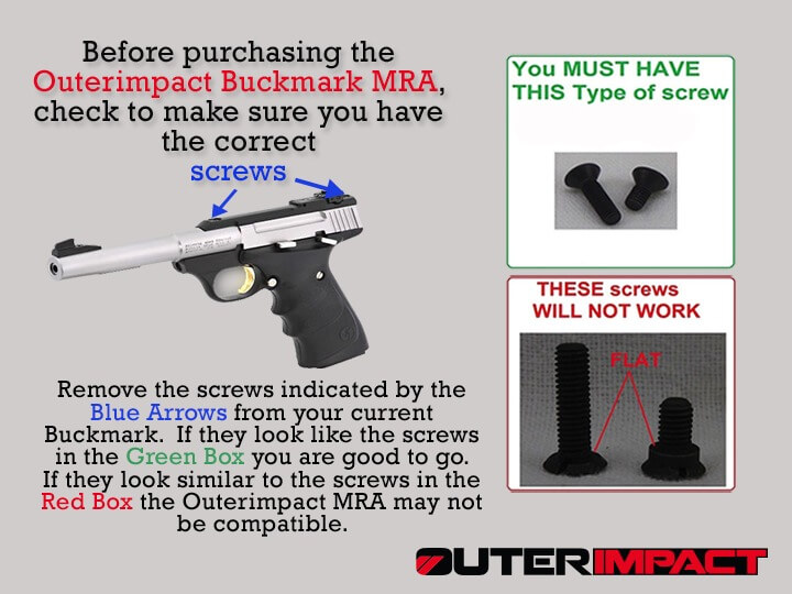 Browning® Buckmark Correct screw info-graphic