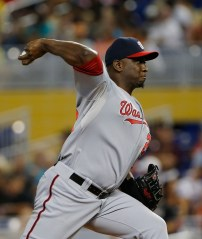 Sep 21, 2014; Miami, FL, USA; Washington Nationals relief pitcher Rafael Soriano (29) throws the ball in the ninth inning in a game against the Miami Marlins at Marlins Ballpark. The  Nationals won 2-1. Mandatory Credit: Robert Mayer-USA TODAY Sports