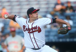 Atlanta Braves starting pitcher Aaron Blair works during the first inning of a baseball game against Cincinnati Reds on Monday, June 13, 2016, in Atlanta. (AP Photo/John Bazemore)