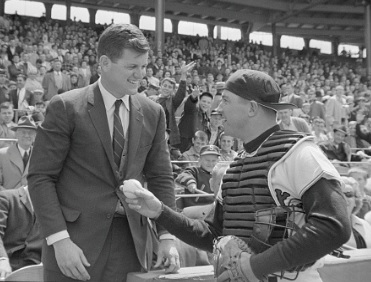 Russ Nixon, professional catcher, with Senator Edward Kennedy