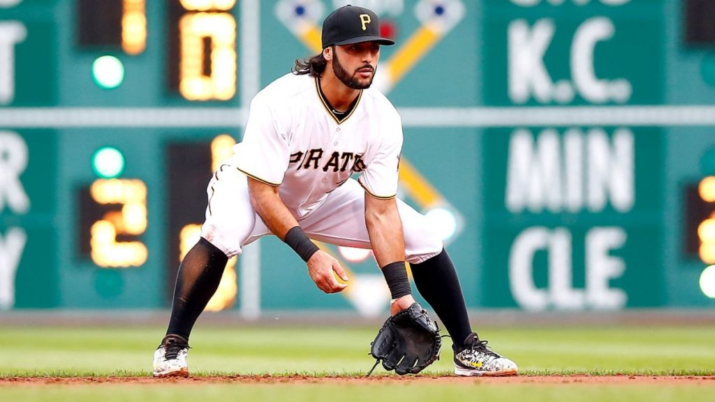 Sean Rodriguez manning first base for the Pittsburgh Pirates. (Photo: Jared Wickerham/Getty Images)