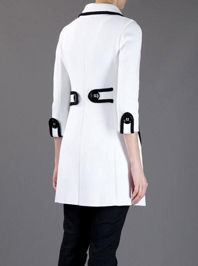 Monochrome cotton coat from Charlott featuring a classic collar with black trim
