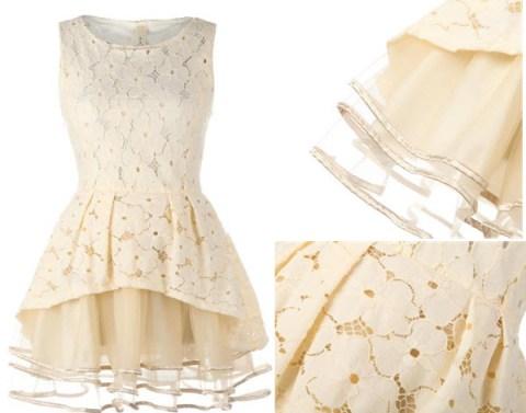 TBdress Design Wonderful Elegant Beige Big Hem Floral Dress