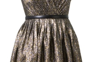 Saint Laurent gold silver and black lame dress