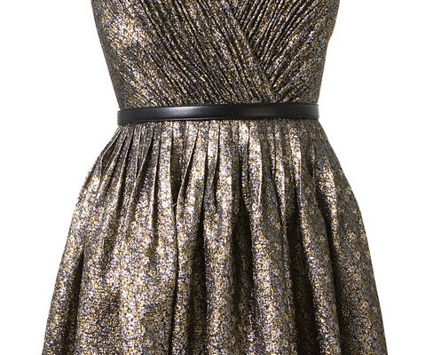 Saint Laurent gold silver and black lame dress