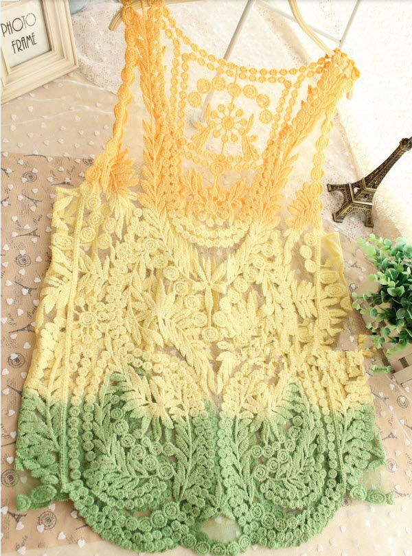 Beige Black Green Embroidery Floral Lace Crochet Blouse