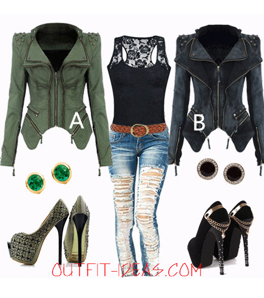 Stud Denim Coat - Black Vest - Cool Outfit -outfit-ideas.com