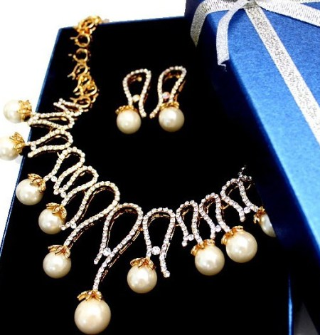 Imitated Pearl Crystal Earring Gold Necklace Set