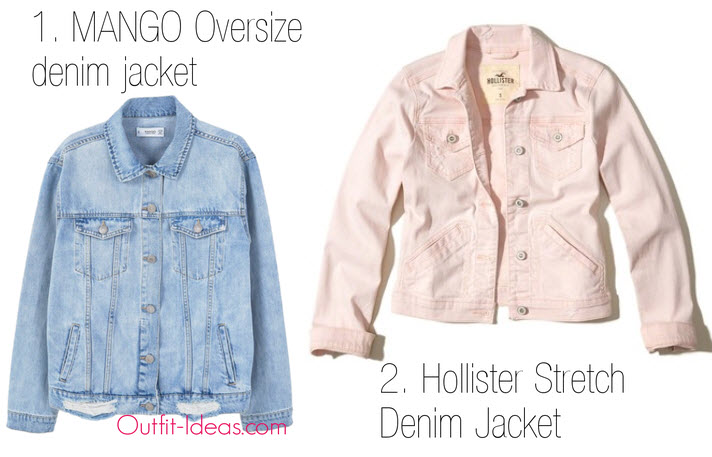 1. MANGO Oversize denim jacket and 2. Hollister Stretch Denim Jacket