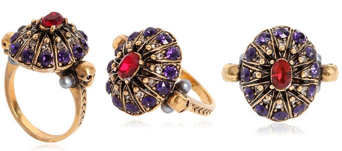 ALEXANDER MCQUEEN JEWELED PURPLE SWAROVSKI RING
