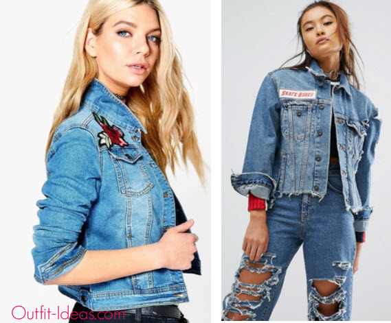 Boohoo Lara Rose Embroidery Slim Fit Denim Jacket and The Ragged Priest Distressed Denim Jacket With Patches