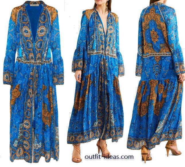 Etro Printed plissé-silk maxi dress