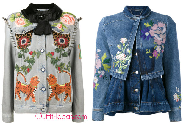 Gucci King Charles Spaniel studded denim jacket and Alexander McQueen embroidered denim jacket