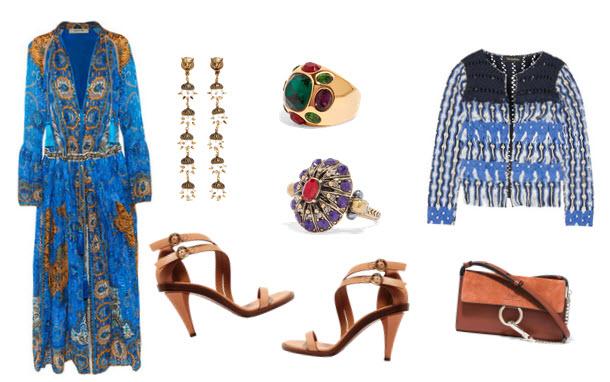 How to wear tan Chloe Sandals, Tabula Rasa macrame jacket and Etro plisse dress