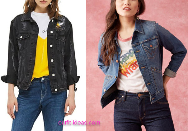 Petite Womens Topshop Extreme Rip Denim Jacket and Wrangler Dependable Denim Jacket