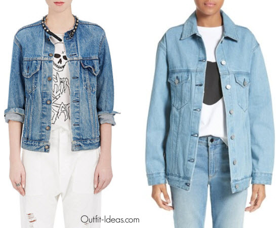 R13 Womens Studded-Choker Denim Jacket Women s Etre Cecile L Avenue Des Stars Embroidered Denim Jacket