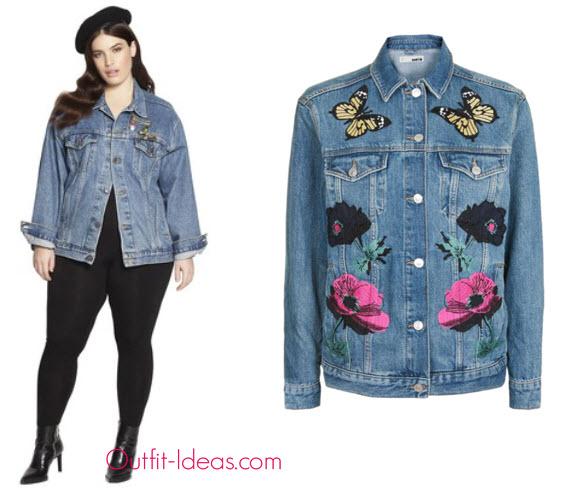 TopShop Moto Floral Applique Jacket Beth Ditto Women Embroidered Vintage Denim Jacket